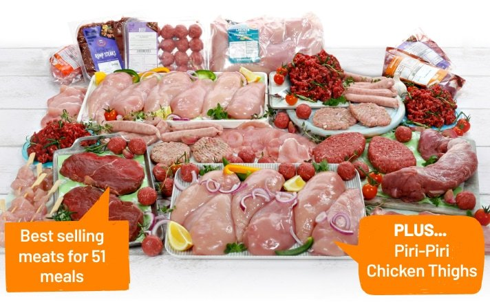 The every popular huge hamper. Enough to create 51 meals for £52. (correct as at 23 Mar 20). From Muscle Food. Plus the Piri-Piri Chicken Thighs